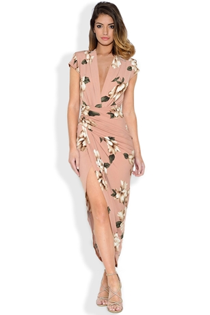 Cap Sleeve Floral Print Plunge Front Dress