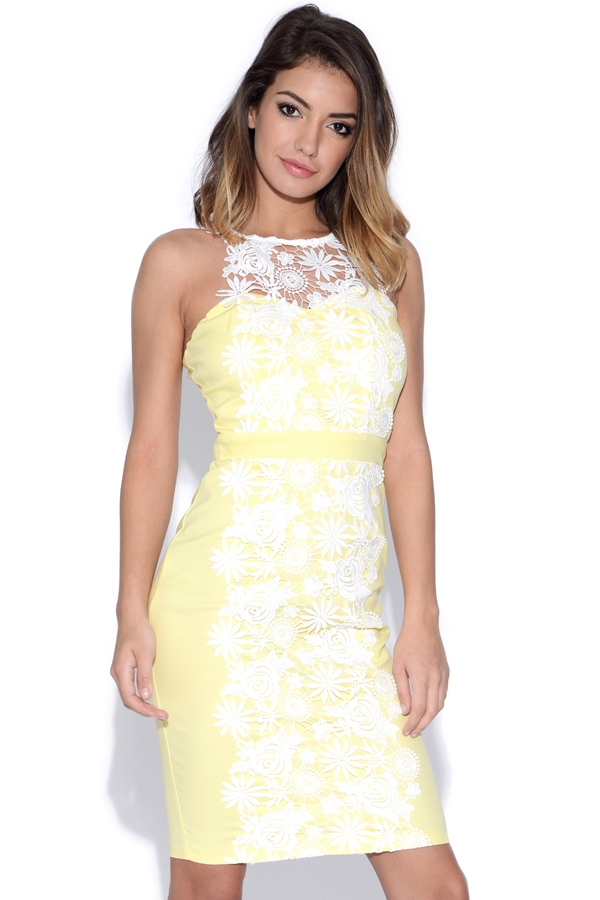 Lemon Lace Bodycon Dress
