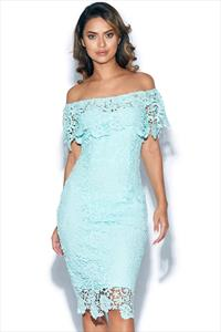 Mint Bardot Dress