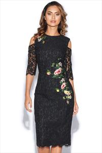 Black Floral Print Lace Bodycon Dress
