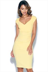 Lemon Pleated Midi Dress