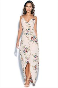 Beige Floral Wrap Maxi Dress