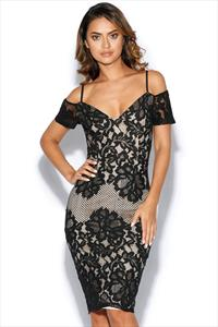 Black Cold Shoulder Lace Midi Dress