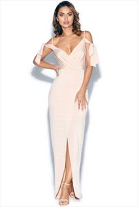 Nude V Neck Tie Cold Shoulder Maxi Dress