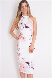 Floral Mesh Panel Bodycon Midi Dress