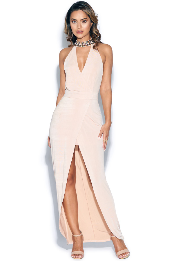 Embellished Plunge Cut Out Maxi Dress
