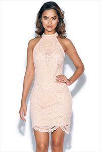 Nude Lace High Neck Mini Dress