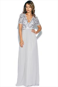 Sequin Chiffon Maxi Dress