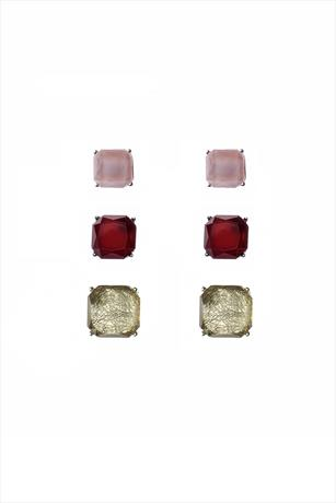 Pack of 3 Pink Burgundy and Olive Tone Stud Earrings