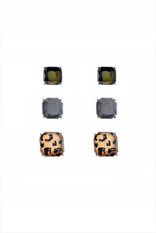 Pack of 3 Leopard Squared Earrings