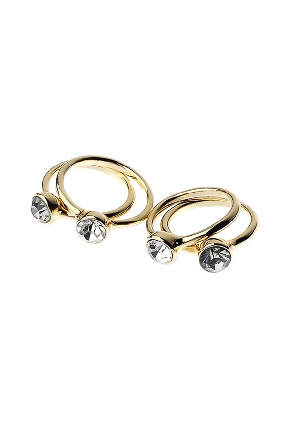 Set of 4 Diamante Embellished Rings