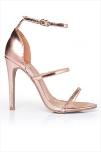 Rose Gold Strappy Bar Sandals