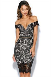 Black Lace Bardot Dress