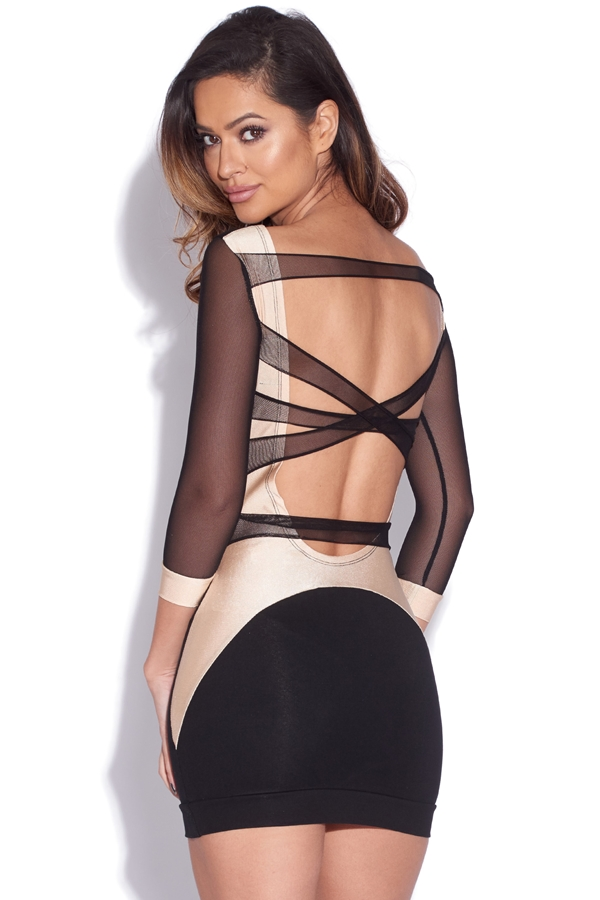 Black and Gold Mesh Back Dress