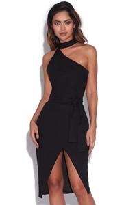 Asymmetric Halterneck Front Dress