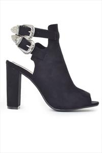 Twin Buckle Black Peep Toe Ankle Boots