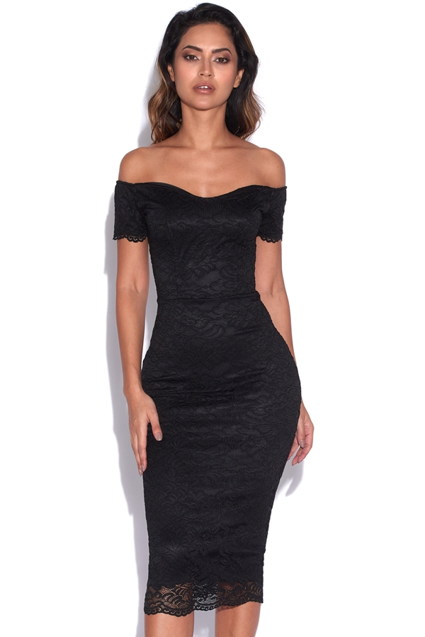 Bardot Lace Bodycon Midi Dress