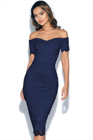 Midi dress bodycon navy