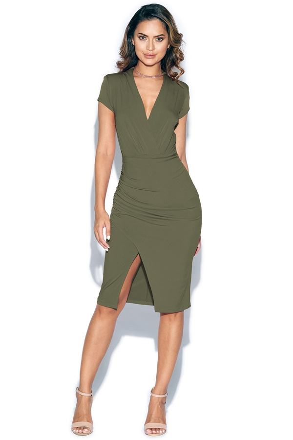 Short Sleeved Plunge Front Midi Dress