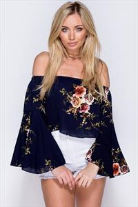 Floral Flare Sleeve Bardot Top