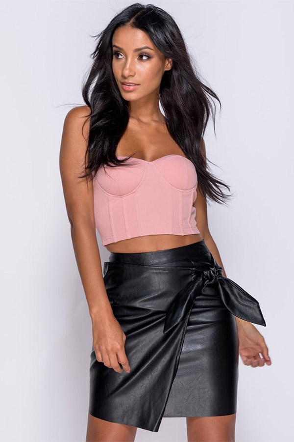 PU Wrap Over Tie Detail Mini Skirt