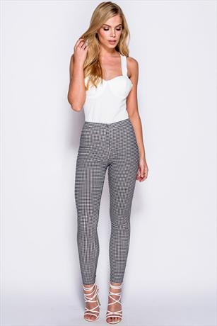 High Waist Skinny Gingham Jeggings