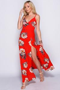 Red Floral Thigh Split Maxi Dress