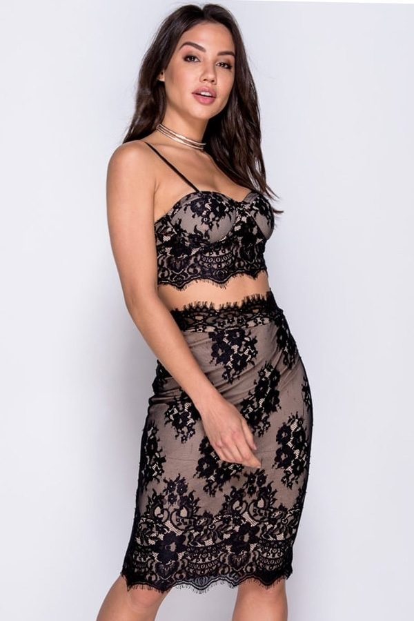 Lace Bralet And Skirt Co Ord Set