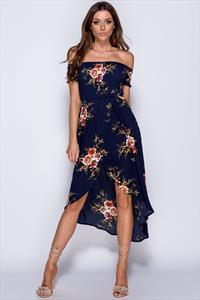 Front Cross Over Dip Hem Floral Print Bardot Dress