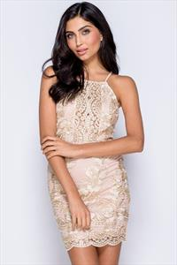 Metallic Lace Front Cami Bodycon Mini Dress