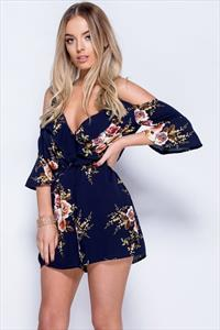 Navy Floral Cold Shoulder Plunge Neck Playsuit
