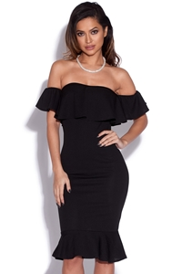 Bardot Frill Hem Bodycon Dress
