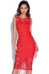 Red Crochet Lace Bodycon Dress