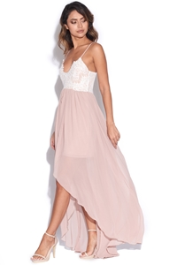 Lace Cami Chiffon Maxi Dress