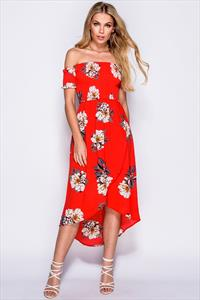 Red Front Cross Over Dip Hem Floral Print Bardot Dress