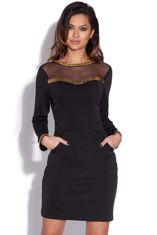 Gold Embellished Black Bodycon Dress