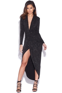 Sparkle Plunge Neck Structured Dress