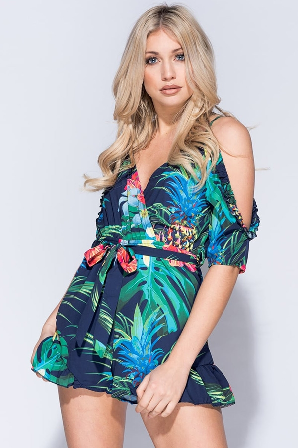 Tropical Print Wrapover Cold Shoulder Playsuit