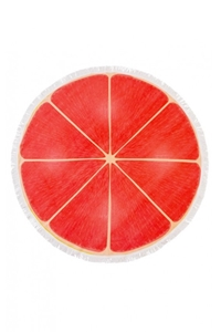 Fringed Pink Grapefruit Slice Round Beach Towel