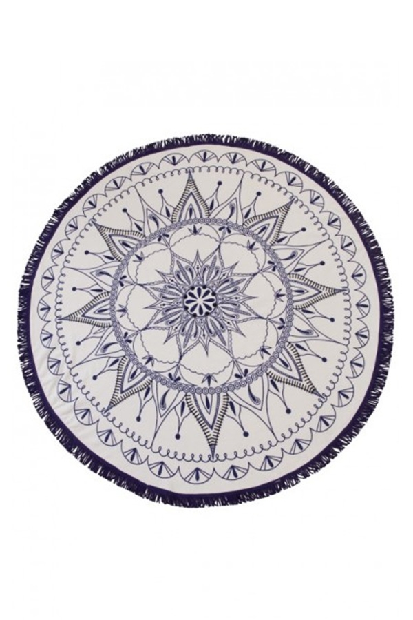 White and Navy Mandala Round Beach Towel