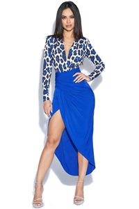 Blue Leopard Top Print Plunge Dress