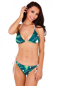 Leaf Print Triangle Bikini Set