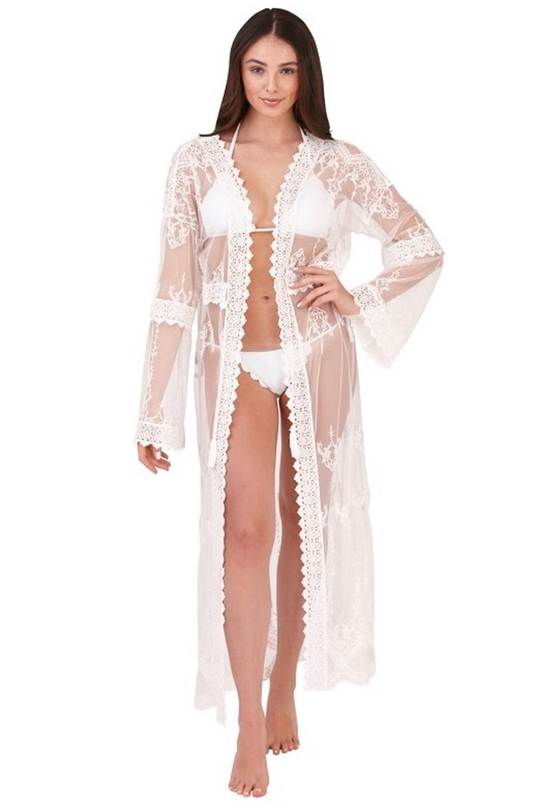 White Sheer Lace Kaftan