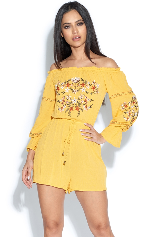 Embroidered Bardot Playsuit