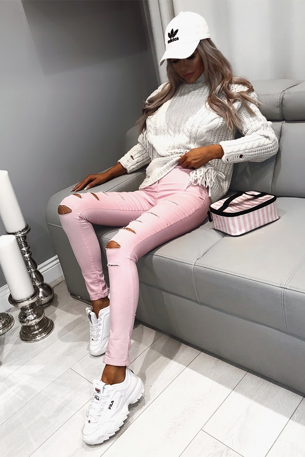 Pink Slashed High Waisted Jeggings