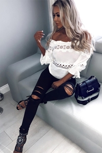 White Lace Off The Shoulder Top