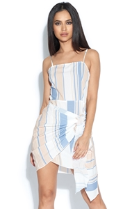 Tie Front Striped Mini Dress