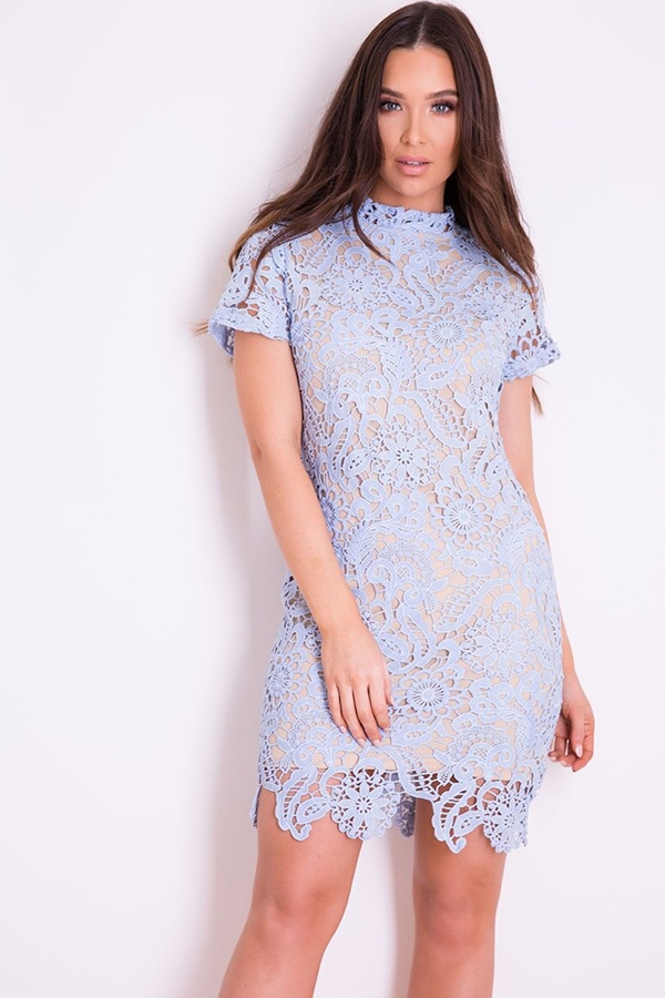 Powder Blue Lace Mini Dress