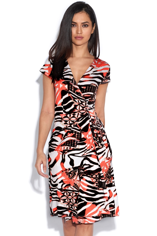 Abstract Orange Animal Wrap Dress