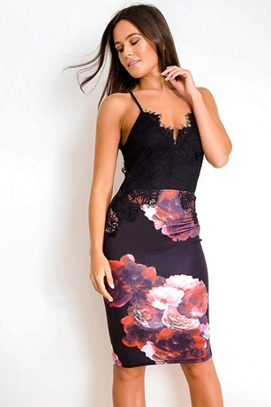 Contrast Lace Top Dress with floral skirt